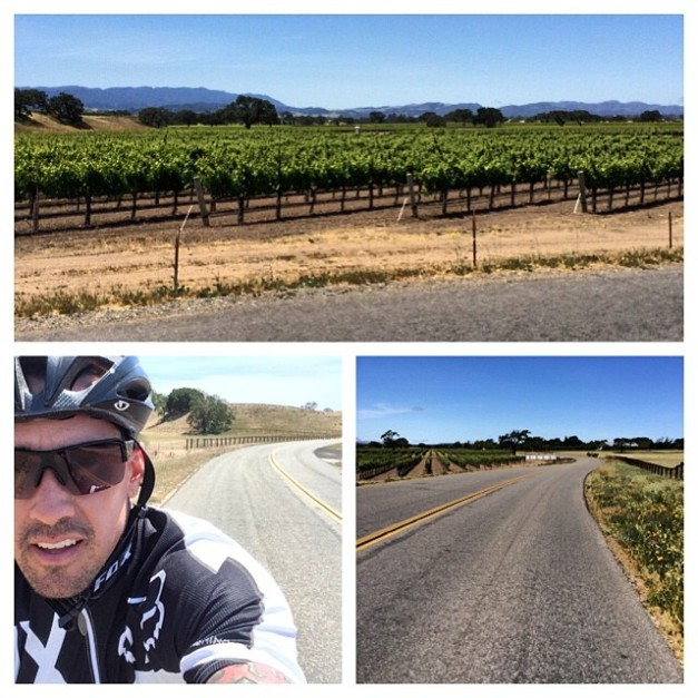 Carey snapping shot while out on his road bike